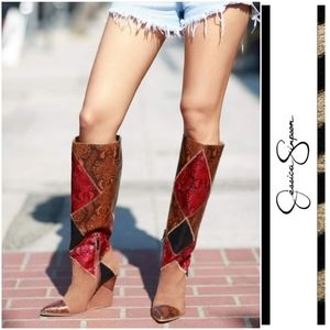 Vintage Inspired Patchwork Jessica Simpson Boots